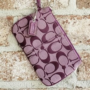 Coach Signature Print Wristlet Purple
